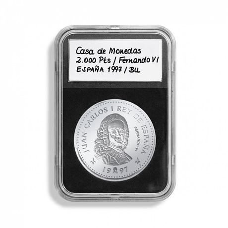 (MAT01.Rangindiv.Caps.342045) Paquet de 5 capsules Leuchtturm EVERSLAB pour monnaies 38,00 mm