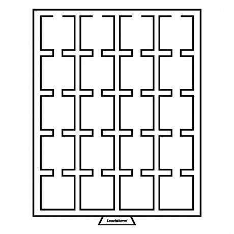 (MAT01.Cofméd&écr.Méd.327468) Médailler Leuchtturm 20 cases 50,00 mm x 50,00 mm