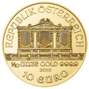 10 euro Austria 2018 0.10 ounce gold - Vienna Philharmonic Orchestra Obverse (zoom)