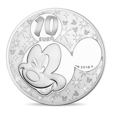 10 euro France 2018 argent BE - Mickey Mouse Revers