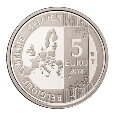5 euro Belgique 2018 argent BE - Les Schtroumpfs Avers