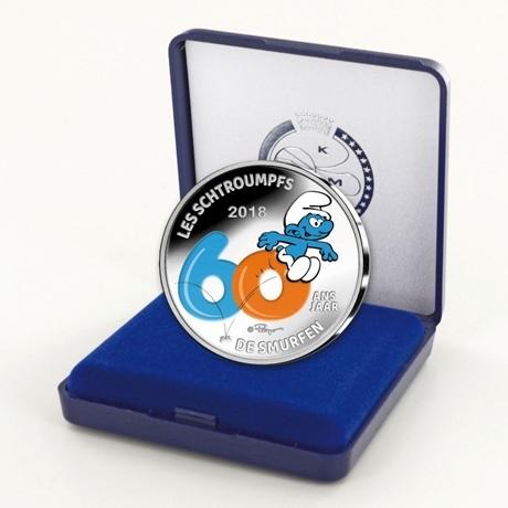 5 euro Belgique 2018 argent BE - Les Schtroumpfs (colorisée) (packaging)