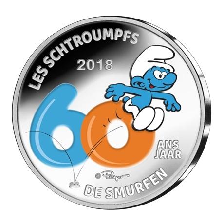 5 euro Belgique 2018 argent BE - Les Schtroumpfs (colorisée)