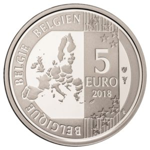 5 euro Belgium 2018 Proof silver - The Smurfs Obverse (zoom)