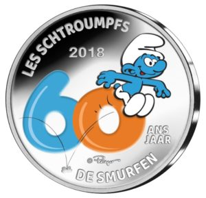 5 euro Belgium 2018 Proof silver - The Smurfs (coloured) (zoom)
