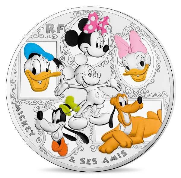 50 Euro France 2018 Proof Silver Mickey Mouse Friends Obverse