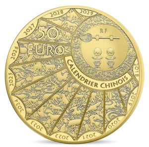 50 euro France 2019 Proof gold - Year of the Pig Obverse (zoom)
