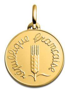 (FMED.Méd.couMdP.Au.10011328310P00) Gold pendant medal - 1 cent Ear of wheat 1968 Obverse (zoom)