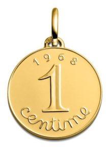 (FMED.Méd.couMdP.Au.10011328310P00) Gold pendant medal - 1 cent Ear of wheat 1968 Reverse (zoom)