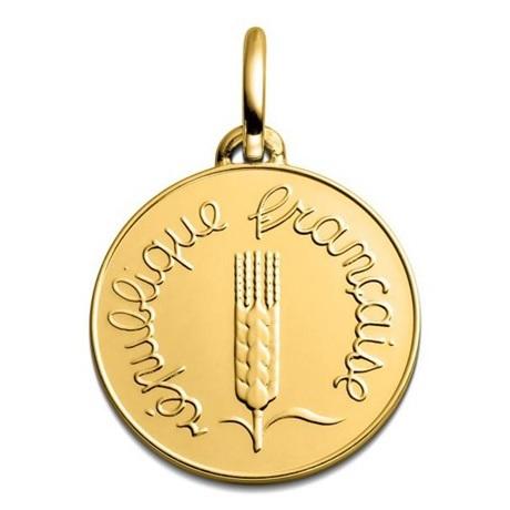 (FMED.Méd.couMdP.Au.10011328310P00) Médaille de cou or - 1 centime Epi 1968 Avers