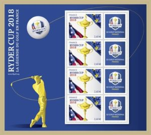 Mini feuille 4 x 2,60 euro France 2018 - Ryder Cup (zoom)