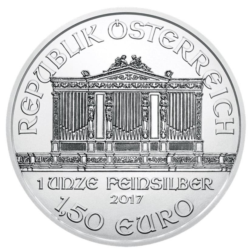 (EUR01.150.2017.21598) 1.50 euro Austria 2017 1 ounce silver - Philharmonic Obverse (zoom)