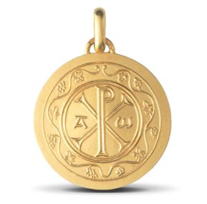 (FMED.Méd.couMdP.Au.10011074920P00) Gold pendant medal - Christogram Obverse (zoom)