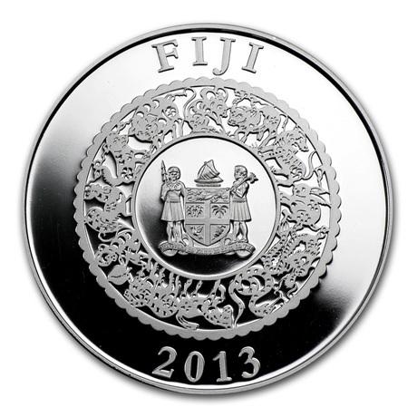 (W073.10.D.2013.1.oz.Ag.1) 10 Dollars Fidji 2013 1 once argent BE - Année du Serpent Avers