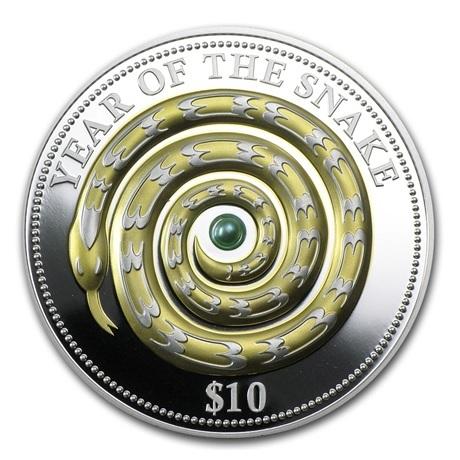 (W073.10.D.2013.1.oz.Ag.1) 10 Dollars Fidji 2013 1 once argent BE - Année du Serpent Revers