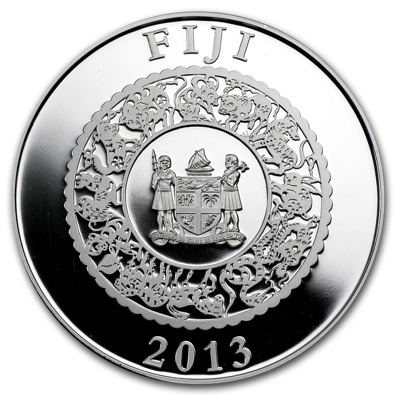 (W073.10.D.2013.1.oz.Ag.1) 10 Dollars Fiji 2013 1 ounce Proof silver - Year of the Snake Obverse (zoom)