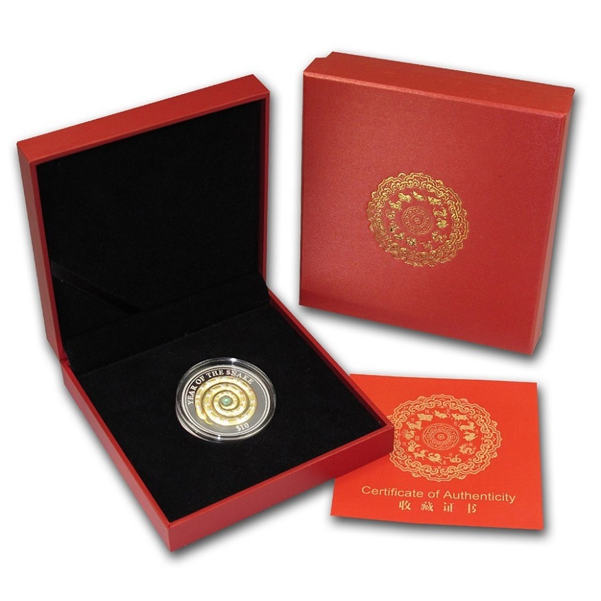 (W073.10.D.2013.1.oz.Ag.1) 10 Dollars Fiji 2013 1 oz Proof Ag - Year of the Snake Obverse (zoom)
