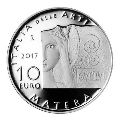 10 euro Italie 2017 argent BE - Basilique des Sassi di Matera Revers