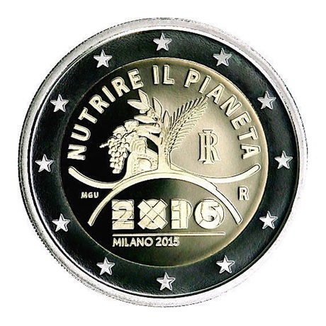 2 euro commémorative Italie 2015 BE - Exposition universelle Avers