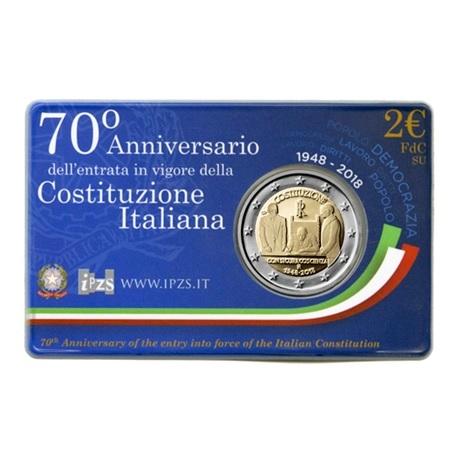 2 euro commémorative Italie 2018 BU - Constitution italienne Recto