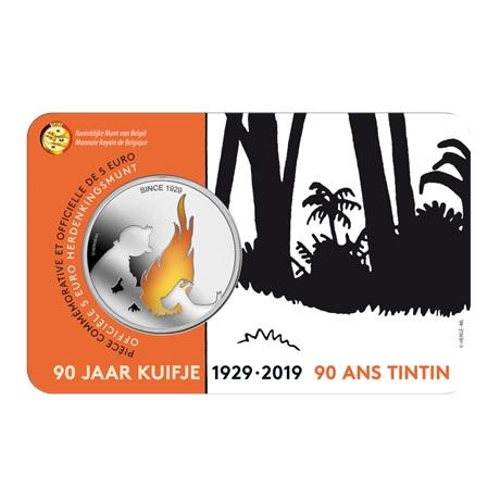 5 euro Belgique 2019 BU - Tintin (colorisée) Recto