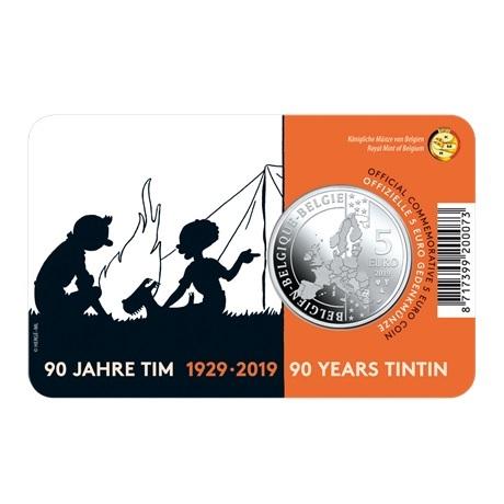 5 euro Belgique 2019 BU - Tintin (colorisée) Verso