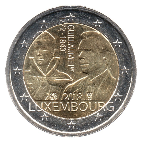 (EUR11.200.2018.COM2.spl.000000001) 2 euro Luxembourg 2018 - Guillaume I Obverse (zoom)