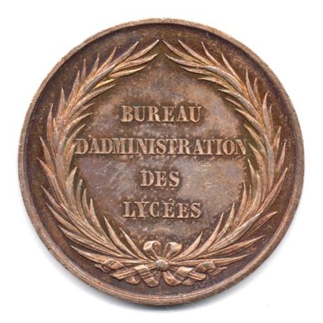 (FMED.Méd.&jetonsXIXème.Ag1.000000001) Médaille argent - Bureau d'administration des lycées Revers