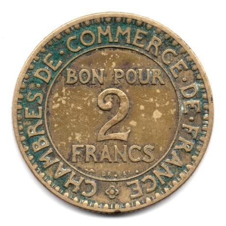 (FMO.2.1921.17.2.000000001) 2 Francs Chambres de commerce 1921 Revers