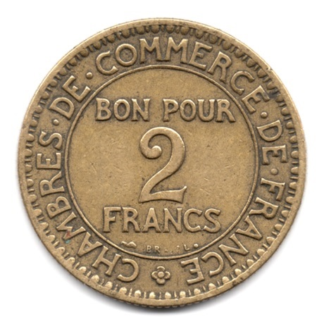 (FMO.2.1923.17.4.000000001) 2 Francs Chambres de commerce 1923 Revers