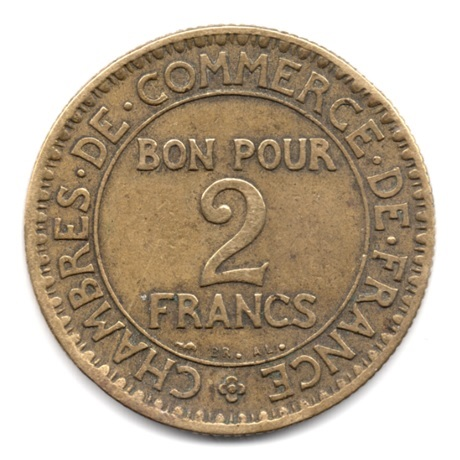 (FMO.2.1923.17.4.000000002) 2 Francs Chambres de commerce 1923 Revers