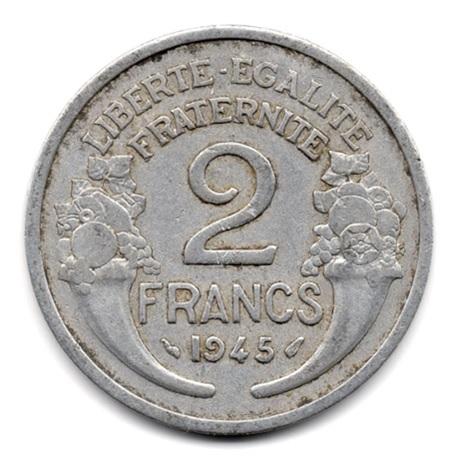 (FMO.2.1945.19.3.000000001) 2 Francs Morlon, aluminium 1945 Revers
