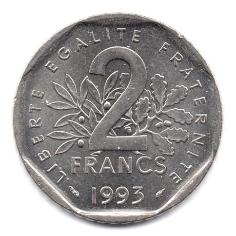 (FMO.2.1993.23.1.000000002) 2 Francs Jean Moulin 1993 Revers