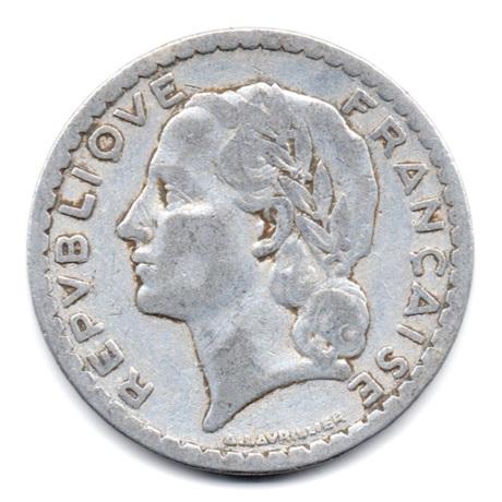 (FMO.5.1949_B.49.17.000000001) 5 Francs Lavrillier, aluminium 1949 B Avers