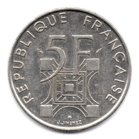 (FMO.5.1989.51.37.000000001) 5 Francs Tour Eiffel 1989 Revers