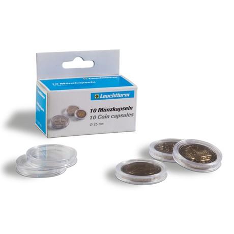(MAT01.Rangindiv.Caps.331675) Paquet de 10 capsules Leuchtturm pour monnaies 25,00 mm