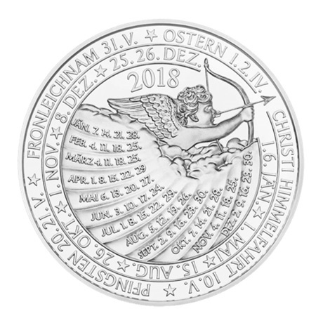 (MED01.Méd.MünzeÖ.2018.Ag2) Médaille argent - Calendrier 2018 Revers