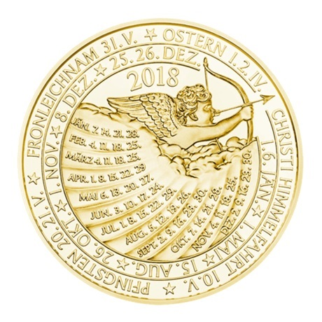 (MED01.Méd.MünzeÖ.2018.Au2) Médaille or - Calendrier 2018 Revers