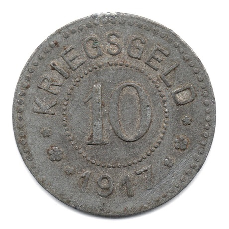 (W007NEC.010.1917.Zn1.000000001) 10 Pfennig Chèvre héraldique - Lambrecht Revers
