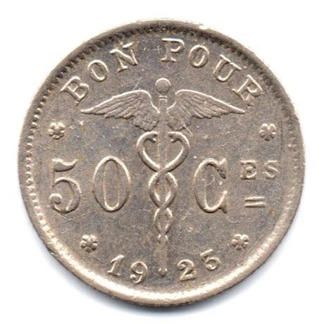(W023NEC.bp050.1923.Ni1.000000001) Bon pour 50 centimes Belgique agenouillée 1923 Revers