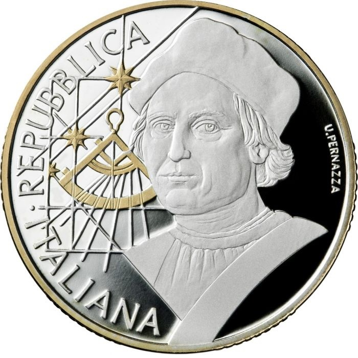 10 euro Italy 2019 Proof silver - Christopher Colombus Obverse (zoom)