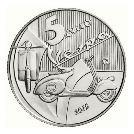 5 euro Italie 2019 argent BU - Vespa (blanche) Avers