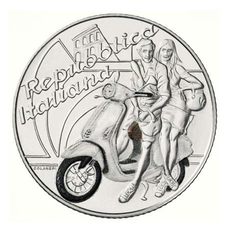 5 euro Italie 2019 argent BU - Vespa (blanche) Revers