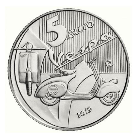 5 euro Italie 2019 argent BU - Vespa (rouge) Revers
