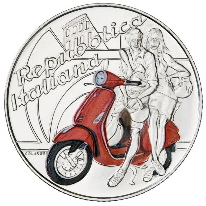 5 euro Italy 2019 Brilliant Uncirculated silver - Vespa (red) Obverse (zoom)