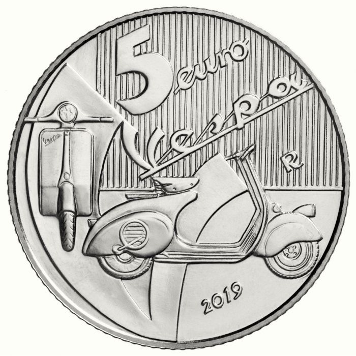 5 euro Italy 2019 Brilliant Uncirculated silver - Vespa (red) Reverse (zoom)