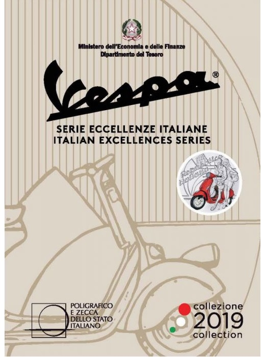 5 euro Italy 2019 Brilliant Uncirculated silver - Vespa (red) (packaging) (zoom)