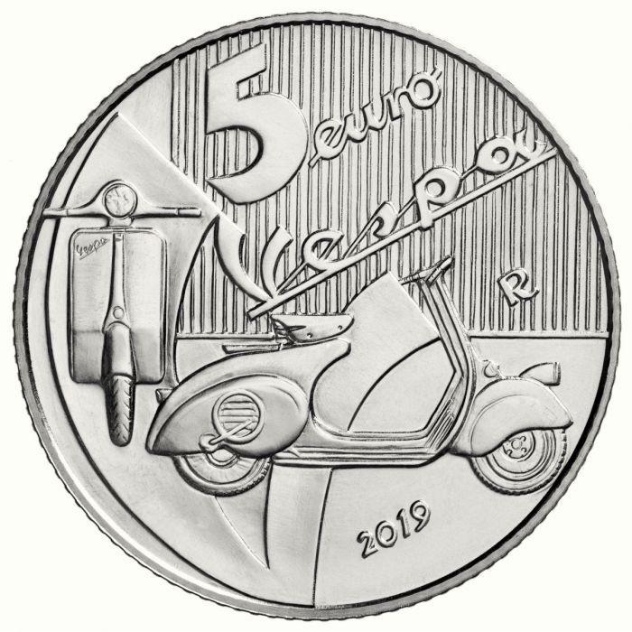 5 euro Italy 2019 Brilliant Uncirculated silver - Vespa (white) Reverse (zoom)