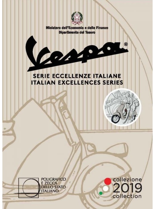 5 euro Italy 2019 Brilliant Uncirculated silver - Vespa (white) (packaging) (zoom)
