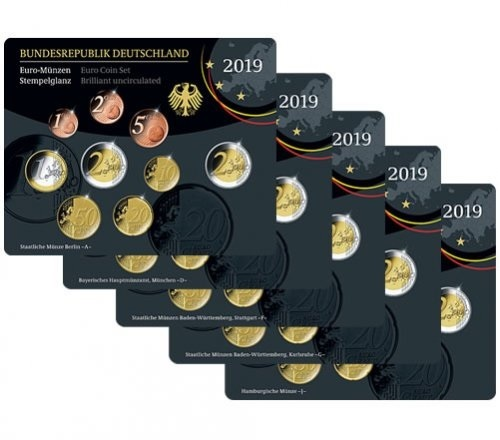 BU coin sets Germany 2019 (all 5 Mints A D F G & J) (zoom)
